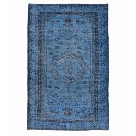 Vintage recoloured rug color donkerblauw (243x147cm)