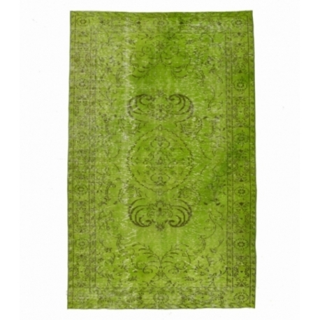 Vintage recoloured rug color green (162x258cm)