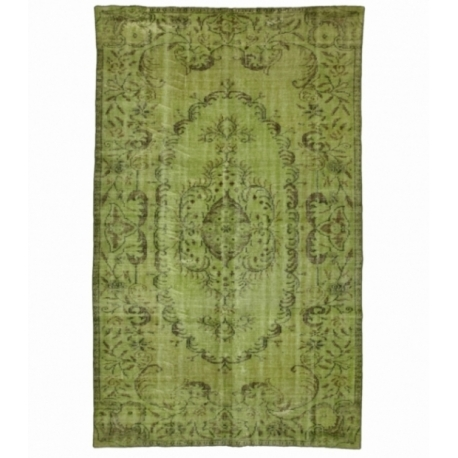 Vintage recoloured rug color green (188x312cm)