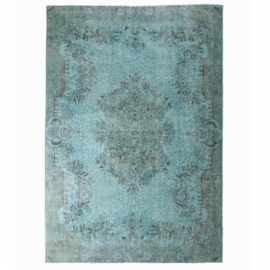 Vintage recoloured rug color turquoise (177x282cm)