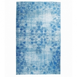 Vintage recoloured rug color turquoise (182x300cm)