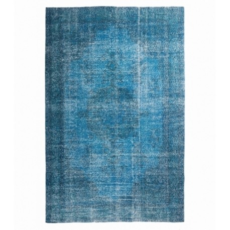 Vintage recoloured rug color turquoise (193x295cm)