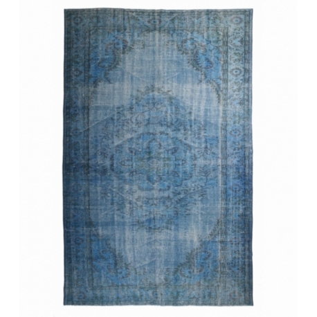Vintage recoloured rug color blue (188x292cm)
