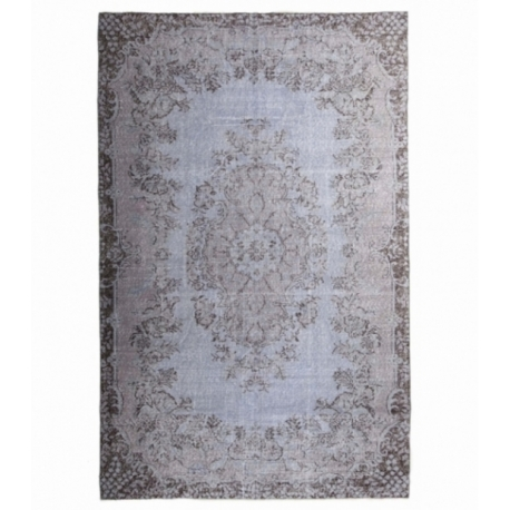 Vintage recoloured rug color blue (185x298cm)
