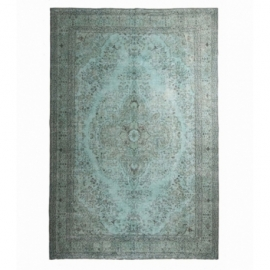 Vintage recoloured rug color turquoise (210x313cm)